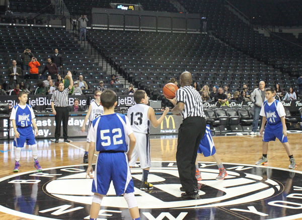CYO teams from St. Bernard and Our Lady of Hope hit the floor for a regular season game at Barclays Center, the home of the Brooklyn Nets. (Photo © Jim Mancari)