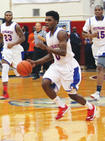 Members of the St. Francis College men's basketball team, including senior guard Tyreek Jewell, are eager to get back to this year's Northeast Conference championship game. (Photos © Jim Mancari)