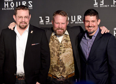 """John Tiegen, Mark Geist, and Kris Paronto attend the Dallas Premiere of the Paramount Pictures film """"13 Hours: The Secret Soldiers of Benghazi."""" (Photo © Catholic News Service/Cooper Neill/Getty Images for Paramount Pictures)"""