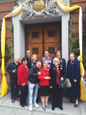 The pilgrims from Immaculate Heart of Mary parish who visited the Holy Door at St. James Cathedral-Basilica included: front row, from left, Robert Russo, Diane DeBernardo, George Lopez, Grace Cantone, Ellen Ryan; back row: Deacon John Cantirino, Crystal Bueno, Mary DeBernardo, Maribeth Dono and Sister Mary Ann Ambrose, C.S.J.