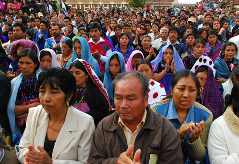 Hundreds of indigenous attend a 2011 service for Bishop Samuel Ruiz Garcia of San Cristobal de Las Casas, Mexico, outside the cathedral in Chiapas. (CNS photo/Jaime Avalos, EPA)