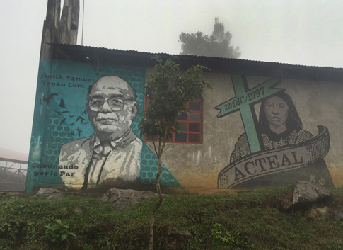 An image of Bishop Samuel Ruiz Garcia of San Cristobal de Las Casas, Mexico, is seen Jan. 22 painted on a church in Acteal. (CNS photo/David Agren)