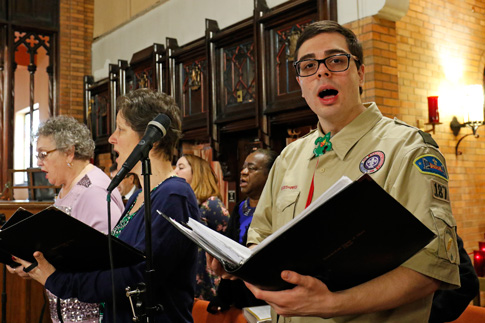 Eagle Scout Connor Whelan sings with the choir during a Scout Sunday Mass Feb. 7 at Immaculate Heart of Mary Church. (Photo © Gregory A. Shemitz)