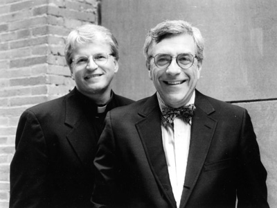 "In this 1998 file photo, Msgr. Thomas Hartman and Rabbi Marc Gellman make up ""The God Squad,"" appearing regularly at that time on ABC's ""Good Morning America."" Msgr. Hartman, a priest of the Diocese of Rockville Centre, N.Y., died Feb. 16. (Photo courtesy Catholic News Service/ABC)"