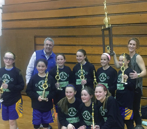 St. Francis de Sales seventh grade CYO Champions included: kneeling from left, Lauren Dean, Olivia Stack, Caroline Gifford; standing, Brooke Leahy, Tori Mullen, Corrine Connolly, Chole Murphy, Nicole Moran and Hannah Brown. The team was coached by Grace Leahy and John Moran.