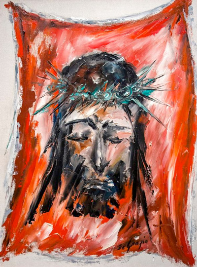 The sixth station in Ted DeGrazia's Way of the Cross series shows St. Veronica's veil awash in red. The series of 15 paintings is exhibited at the DeGrazia Gallery in the Sun in Tucson, Arizona, each Lent.