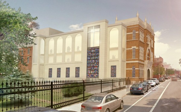 An artist's rendition of the new church at SS. Peter and Paul parish. Construction and renovation of the McCaddin Memorial Building will start in June. (Images Tobin Parnes Design)