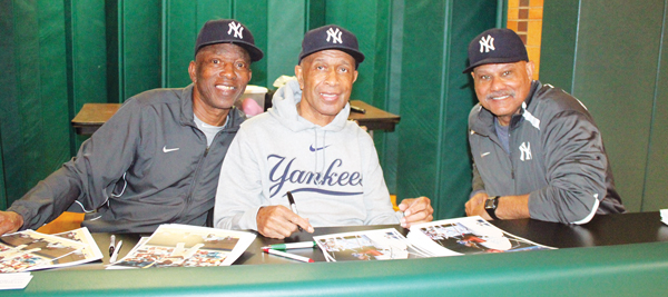 New York Yankees legends, from left, Mickey Rivers, Oscar Gamble and Chris Chambliss were special guests at the St. Kevin's parish, Flushing, annual youth baseball clinic on April 2. Photos © Jim Mancari