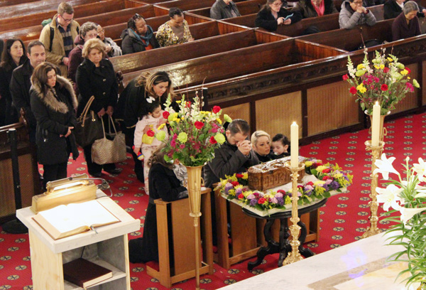 The relics of St. Sharbel were venerated at the Cathedral of Our Lady of Lebanon in Brooklyn Heights in early April. The relics are traveling across the U.S. to mark the 50th anniversary of the Lebanese monk's beatification.