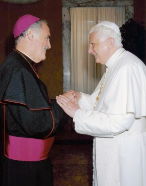 p Pope Benedict XVI greeted Bishop Tiedemann to Rome during a visit there.