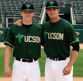 p Brian Luebcke, left, and Tom McKenna, right, for the Tucson Saguaros. (Photo courtesy St. Joseph's College Brooklyn Athletic Communications)