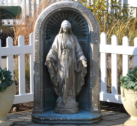 p This statue that survived Sandy has become a symbol of recovery at Blessed Trinity parish.