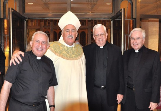 The new auxiliary with Msgrs. Otto Garcia, Peter Kain and Kevin Noone (Photo: Ed Wilkinson)
