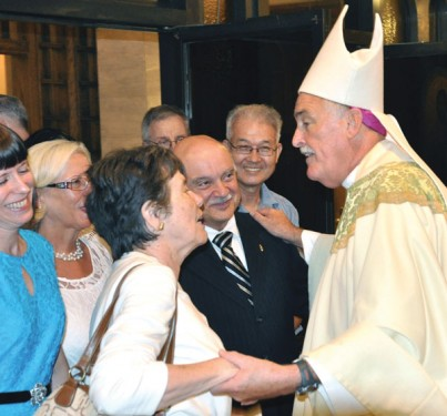 Bishop Tiedemann greets members of his new parish, St. Matthias,Ridgewood (Photo: Ed Wilkinson)
