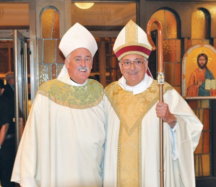 Bishop Nicholas DiMarzio welcomes his new Auxiliary Bishop Neil Tiedemann. (Photo: Ed Wilkinson)
