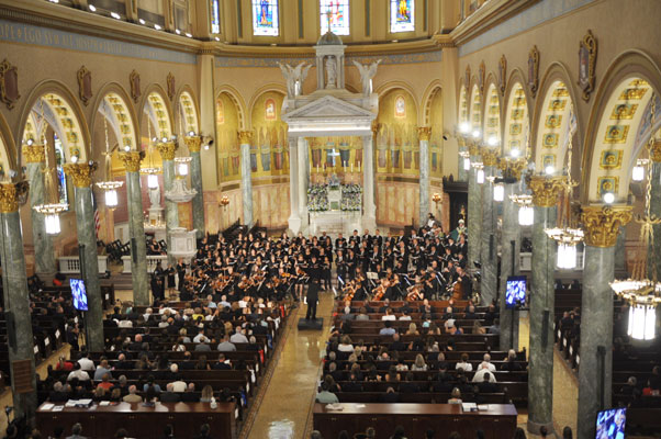 A full orchestra and chorus performed Mozart's Requiem as part of a memorial liturgy at St. Joseph's Co-Cathedral, Prospect Heights, on Sept. 11.