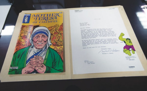 A comic book about Blessed Teresa of Calcutta published by Marvel Comics in 1983 is seen at The Catholic University of America in Washington. (Photos: Catholic News Service/ Tyler Orsburn)