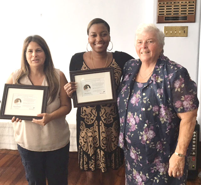 At MercyFirst's Mercy Day celebration in Brooklyn Sept. 23, Catherine McAuley Leadership Awards were presented to two exemplary employees, from left, Karen Prisinzano, a compliance specialist, and Sedell Bobcomb, a youth support counselor, who were congratulated by Sister Margaret Dempsey, R.S.M., MercyFirst's director of personal giving. (Photo: MercyFirst)
