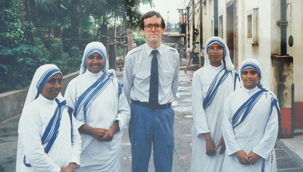 A young Dr. George Lombardi is pictured with some members of the Missionaries of Charity in Calcutta, India, when he was tending to the health of Mother Teresa.