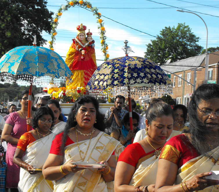 p The statue of Our Lady of Velankanni was processed through the streets of Queens Village en route to its new home at Our Lady of Lourdes Church.