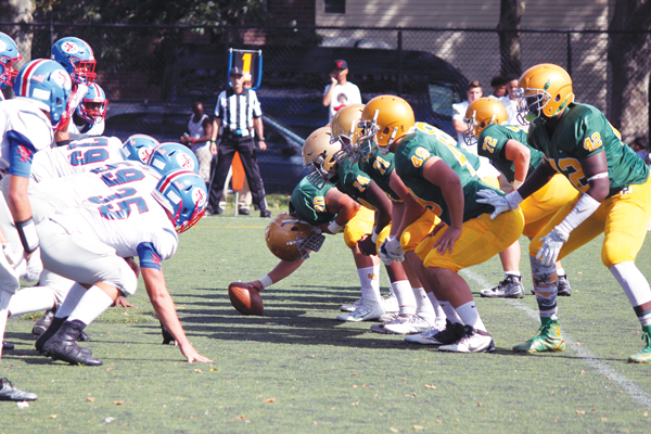 Holy Cross emerged victorious over St. Francis Prep in the Battle of the Boulevard game on Sept. 11. Photo © Jim Mancari