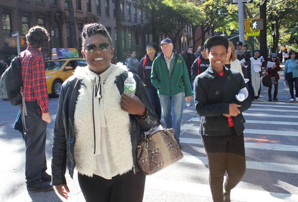 Keptah Saint Julien, left, and Desiree Alexander shared faith and met friends on the five-mile trek.