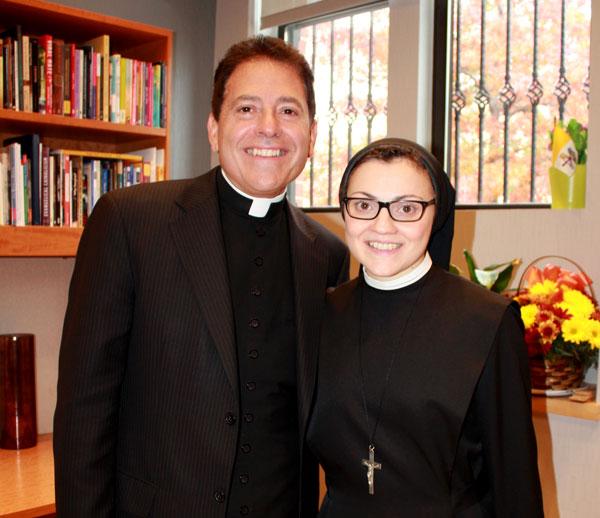 Sister Cristina Scuccia, O.S.U., with Msgr. Jamie Gigantiello