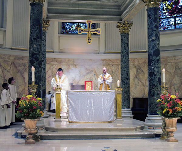 Episcopal Vicar Msgr. Joseph Grimaldi and Father Peter Purpura, rector, celebrated the Mass at St.James Cathedral-Basilica, Downtown Brooklyn