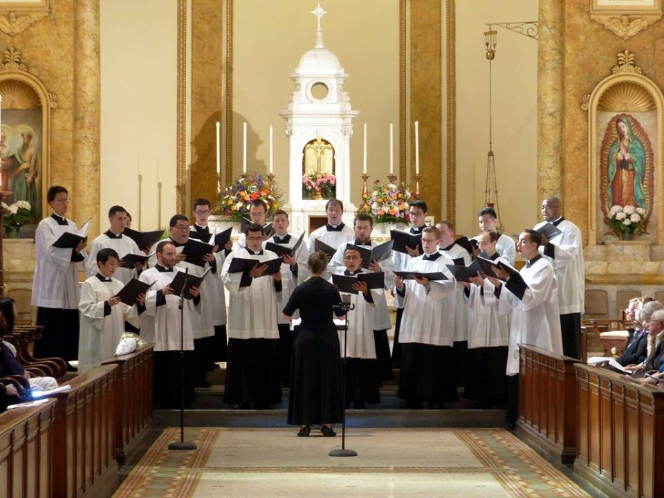 The Schola of St. Joseph's Seminary, Dunwoodie, will perform a series of Christmas concerts, including one at St. Sebastian's Church, Woodside, to help finance a concert tour of France next summer.