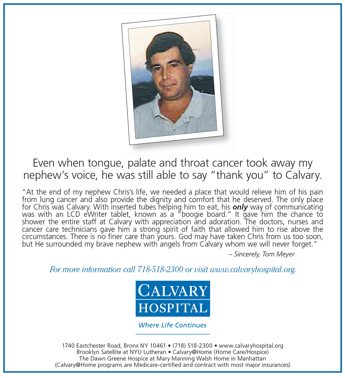Calvary Hospital: Specializing in Palliative and Hospice Care - The