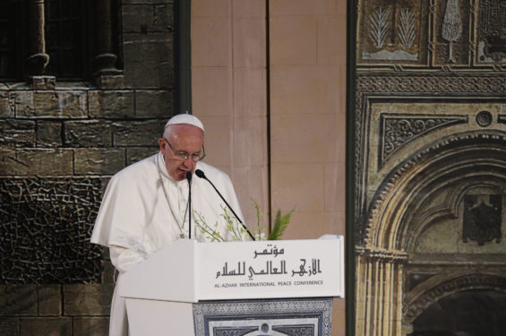Pope Francis speaks at a conference on international peace in Cairo. (CNS photo/Paul Haring)