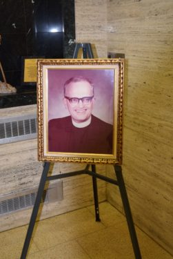 Father Edward Troike's picture is located at the main entrance of Cathedral Prep, Elmhurst, for all to see upon entering the building.