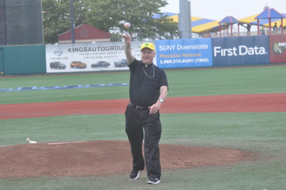 Auxiliary Bishop Raymond Chappetto threw out the ceremonial first pitch
