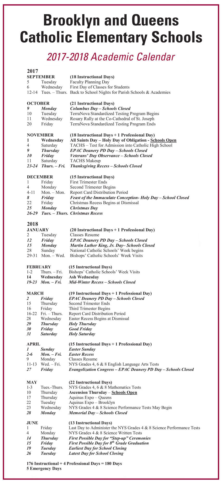 Brooklyn College Calendar Spring 2022.Brooklyn And Queens Academic Calendar 2017 18 The Tablet