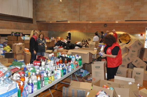 volunteers pack