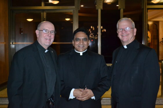 Father William Waters, O.S.A., who served as the last Augustinian pastor, 1993-97, Father John Francis, current pastor and Father Thomas Pettei, who served 2007-14.