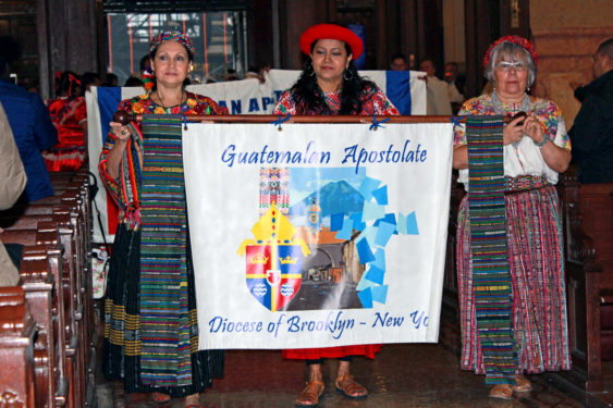 The entrance procession featured banners from the many ethnic groups, including the Guatemalan Ministry.