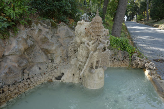 A fountain with papal symbols is seen in the Vatican Gardens.