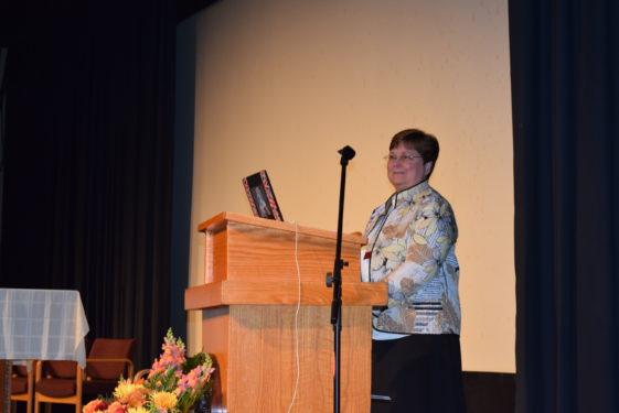Sister Marenid Fabre, O.P., left, delivered the Spanish keynote at last weekend's diocesan Evangelization Congress.