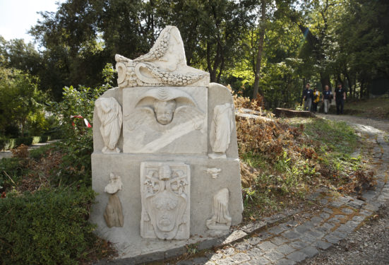 Artwork is seen in the Vatican Gardens Oct. 3. The Vatican is involved in a five-year project to develop ecologically friendly cleaning agents and techniques to clean, restore and maintain the 570 works of art, including fountains, statues and stone plaques, on display outside. (CNS photo/Paul Haring)