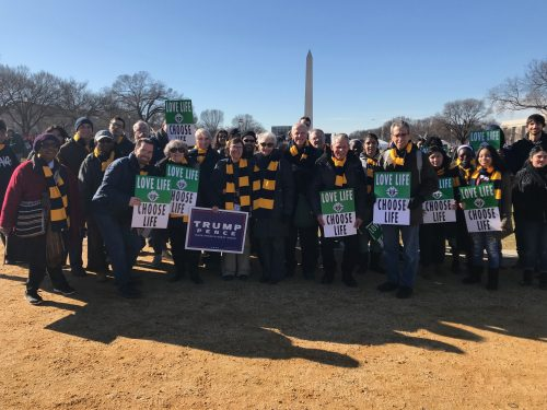Parishioners and students from St. Joseph H.S, Downtown Brooklyn, travelled to Washington on the bus from diocesan headquarters in Park Slope, and gathered near the Washington Monument displaying the signs they carried in the March for Life.