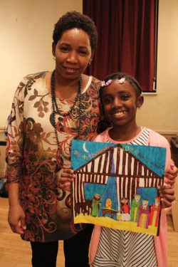 Fourth Grade Winner Denise Annang and mom.