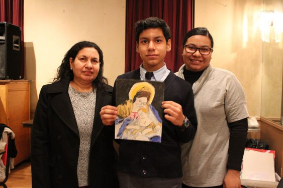 Eighth Grade Winner Kevin Aguirre and family.