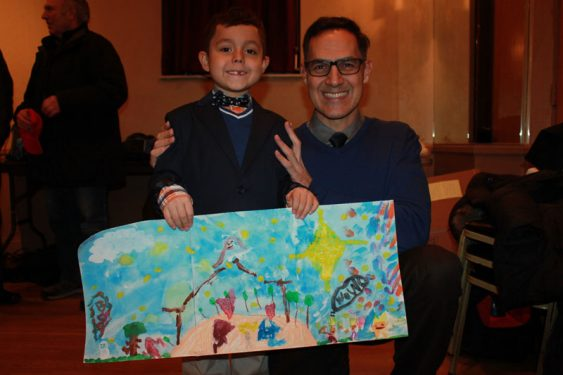 Second Grade winner Leonardo and his father Christopher.