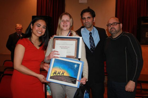 High School Second Place Winner Robin Lesser with Knights of Columbus and Youth Editor Melissa Enaje.