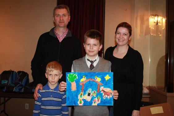 Fifth Grade Winner Thomas Kwiecien and family.