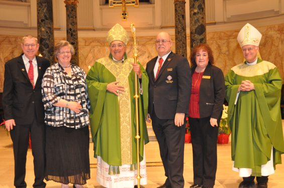 At the Pro Vita Awards Mass were, from left, Kevin and Susan Moore, recipients of the Bishop Thomas V. Daily Award; Bishop Nicholas DiMarzio, who received the Father Michael J. McGivney Medal; Kenneth Latham, Bishop Daily Award honoree and his wife, Carol Latham; and Auxiliary Bishop Raymond Chappetto.