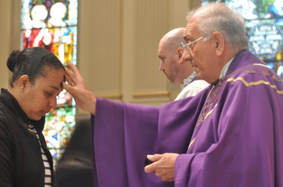 Bishop Nicholas DiMarzio and Father Peter Purpura were the celebrants of the Ash Wednesday noontime Mass at St. James Cathedral-Basilica, Downtown Brooklyn.