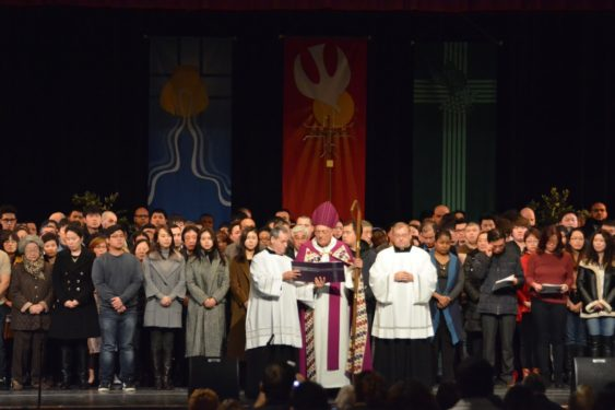 Nearly 450 adults will be baptized into the Catholic faith at the Easter Vigil this year. Bishop Nicholas DiMarzio presided as these catechumens declared their intentions and commitment to the Church during the Rite of Election, held in the former Bishop Ford H.S., Park Slope, on the First Sunday of Lent. (Photos: Jorge Dominguez)