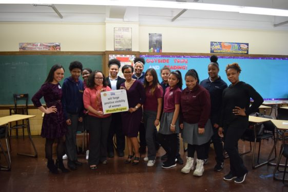 Three of the guest panelists, Melissa Enaje, far left, finance expert Daisy Pinero and keynote speaker Liz Faublas, center, spoke to the young women at the Downtown Brooklyn high school. The roundtable session allowed the students to share their own personal testimonies of the people in their lives who inspire them to succeed.